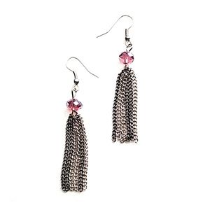 Dangling Fringe Earrings w/Mauve Bead